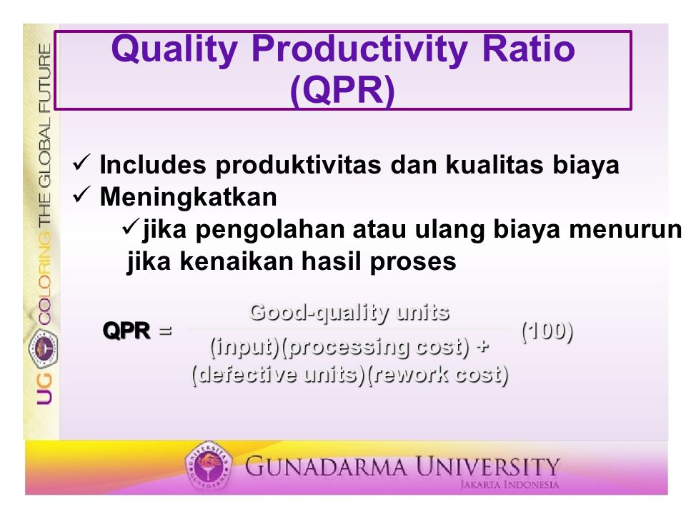 Quality Productivity Ratio (QPR)
