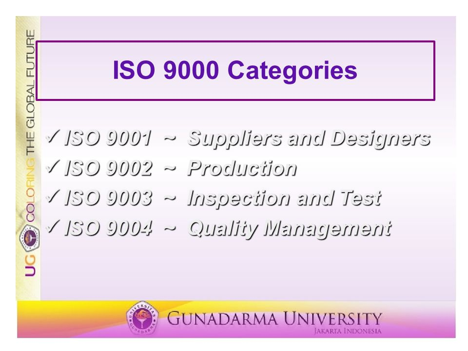 ISO 9000 Categories ISO 9001 ~ Suppliers and Designers