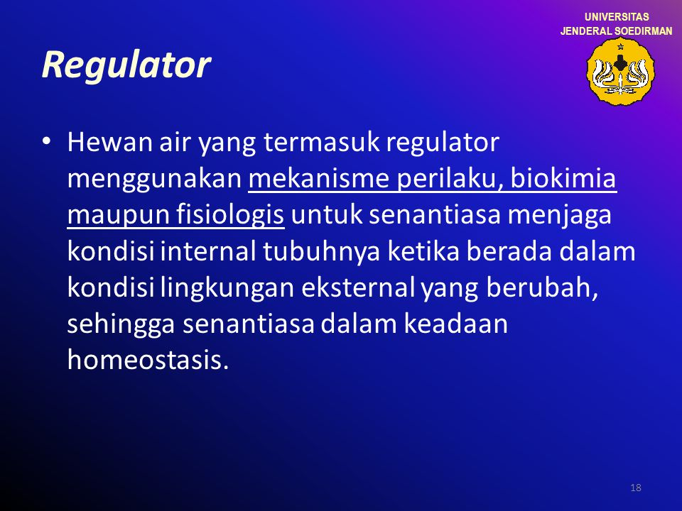 UNIVERSITAS JENDERAL SOEDIRMAN. Regulator.