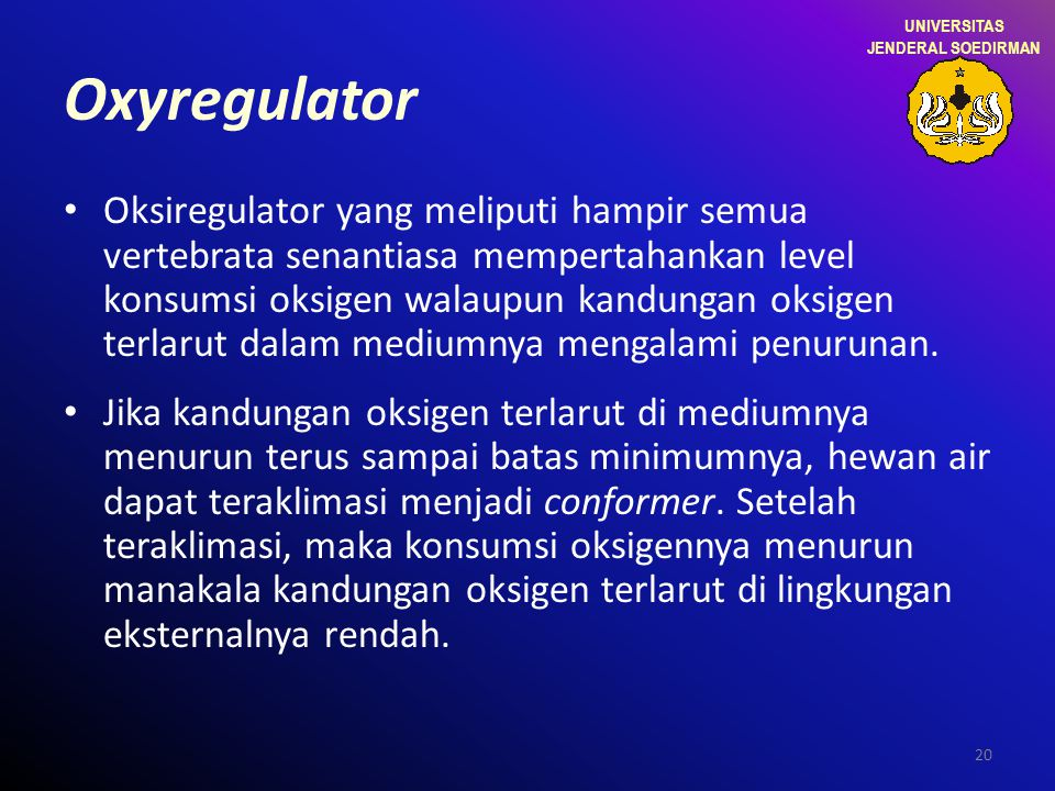 UNIVERSITAS JENDERAL SOEDIRMAN. Oxyregulator.
