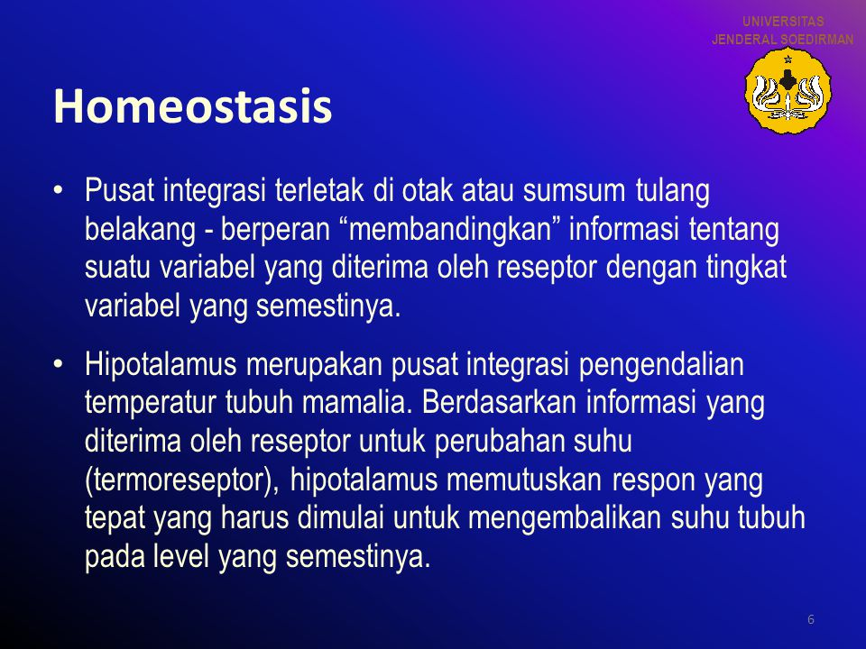 UNIVERSITAS JENDERAL SOEDIRMAN. Homeostasis.