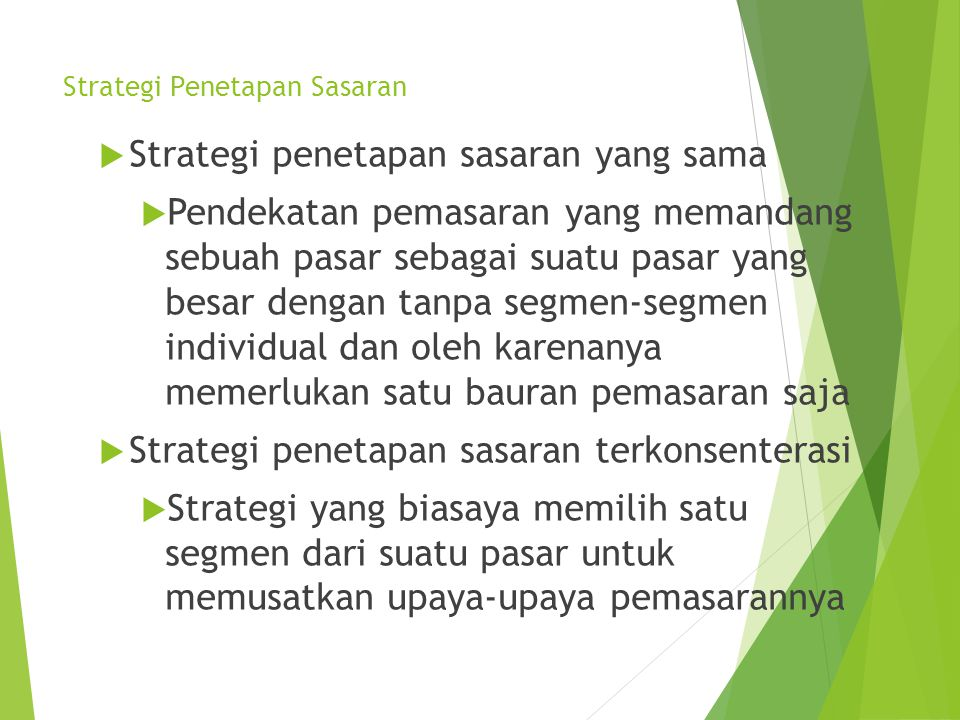 Strategi Penetapan Sasaran