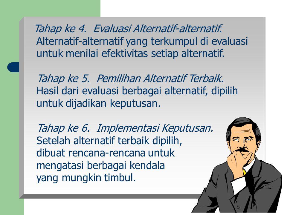 Tahap ke 4. Evaluasi Alternatif-alternatif.
