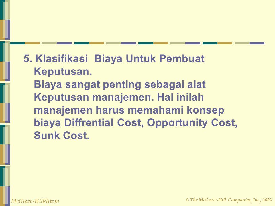 5. Klasifikasi Biaya Untuk Pembuat Keputusan