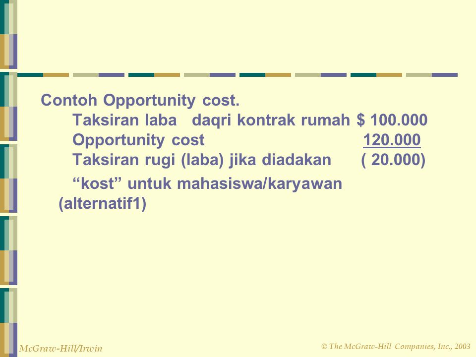 Contoh Opportunity cost. Taksiran laba daqri kontrak rumah $ 100