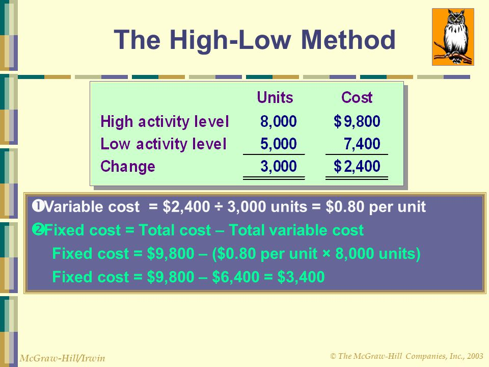 The High-Low Method Variable cost = $2,400 ÷ 3,000 units = $0.80 per unit. Fixed cost = Total cost – Total variable cost.