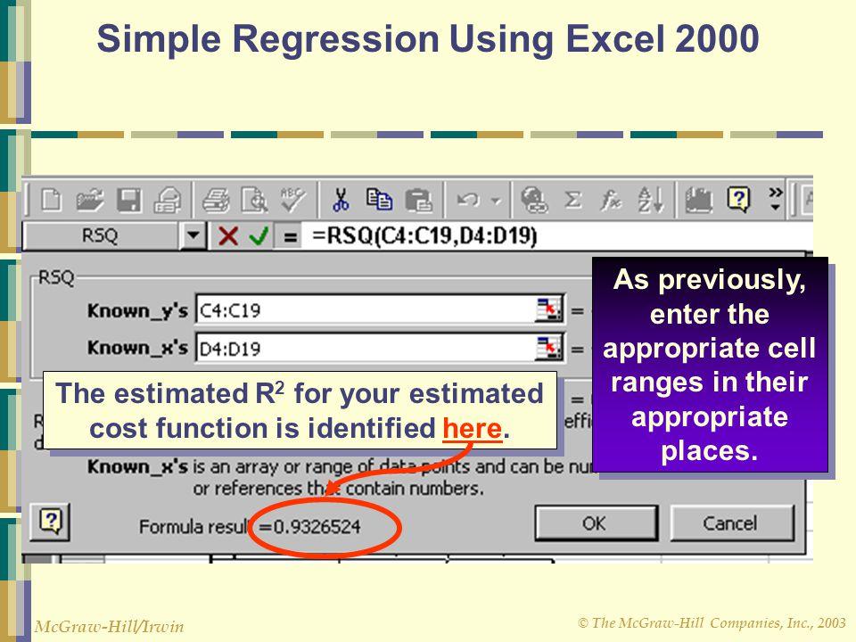 Simple Regression Using Excel 2000