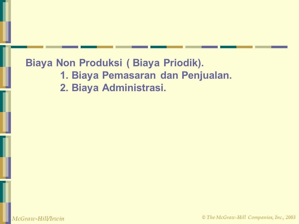 Biaya Non Produksi ( Biaya Priodik). 1. Biaya Pemasaran dan Penjualan