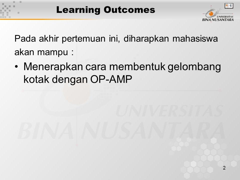 Menerapkan cara membentuk gelombang kotak dengan OP-AMP