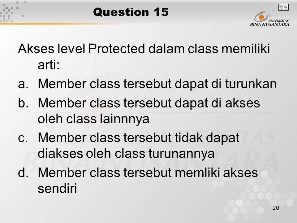 Akses level Protected dalam class memiliki arti: