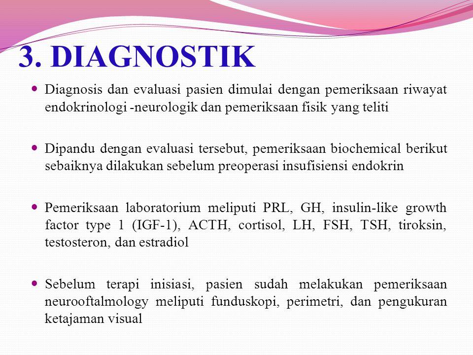 3. DIAGNOSTIK Diagnosis dan evaluasi pasien dimulai dengan pemeriksaan riwayat endokrinologi -neurologik dan pemeriksaan fisik yang teliti.