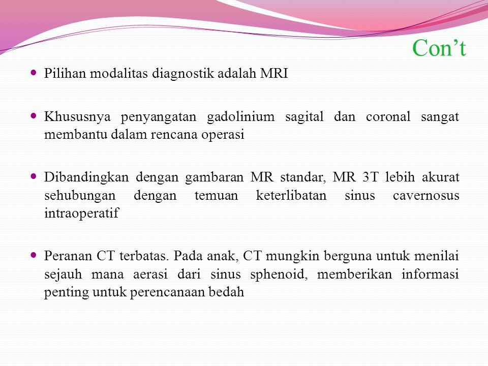 Con't Pilihan modalitas diagnostik adalah MRI