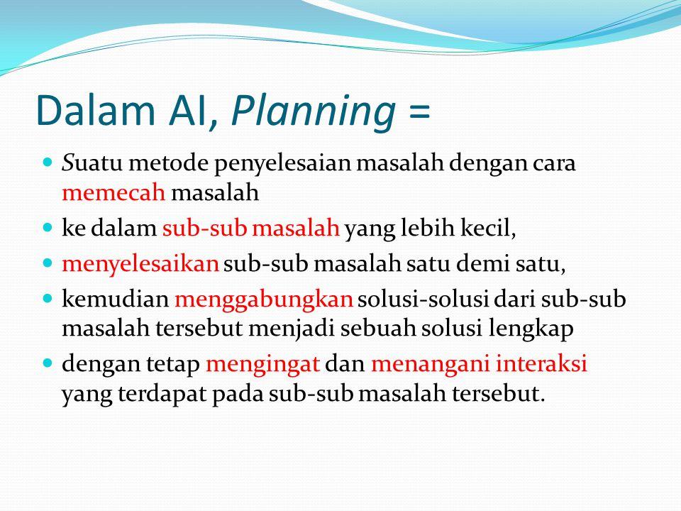 Dalam AI, Planning = Suatu metode penyelesaian masalah dengan cara memecah masalah. ke dalam sub-sub masalah yang lebih kecil,