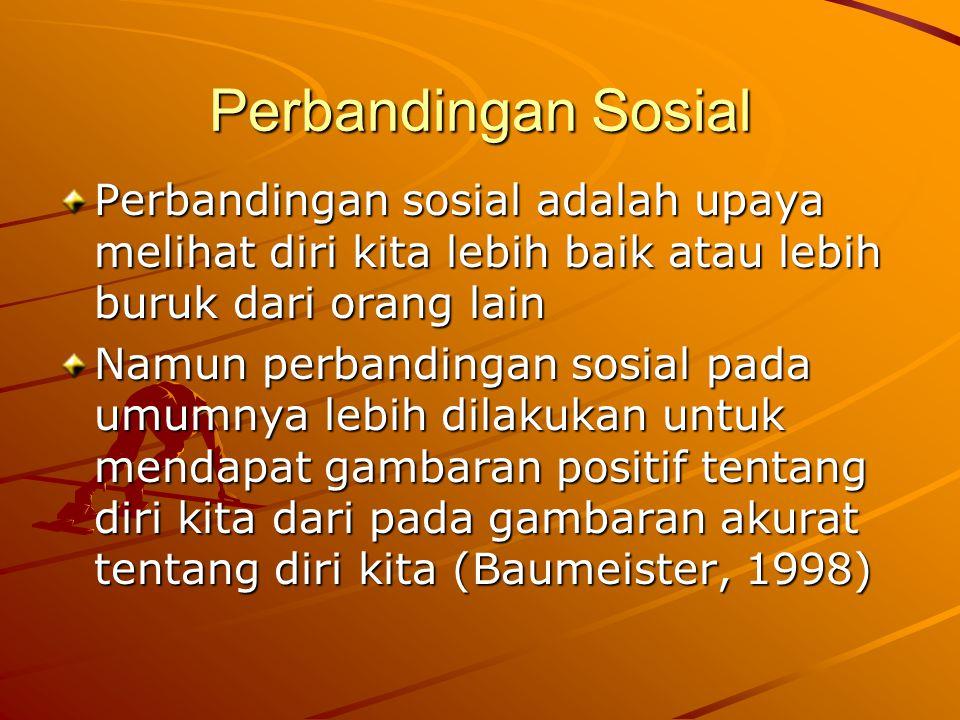 Perbandingan Sosial Perbandingan sosial adalah upaya melihat diri kita lebih baik atau lebih buruk dari orang lain.