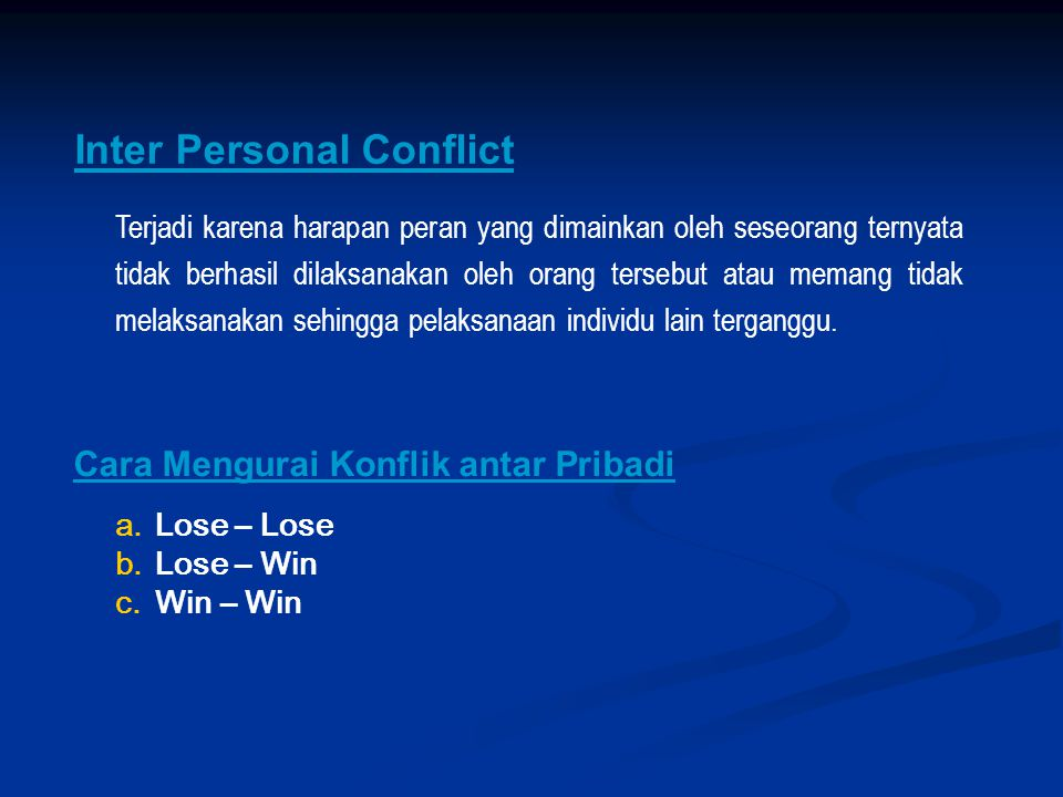 Inter Personal Conflict