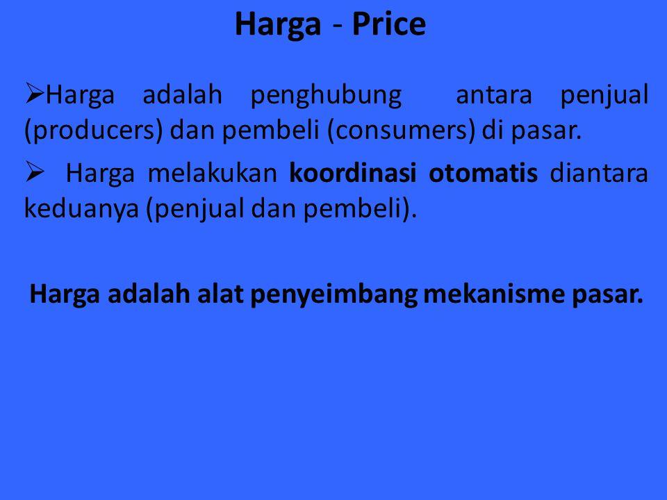 Harga adalah alat penyeimbang mekanisme pasar.