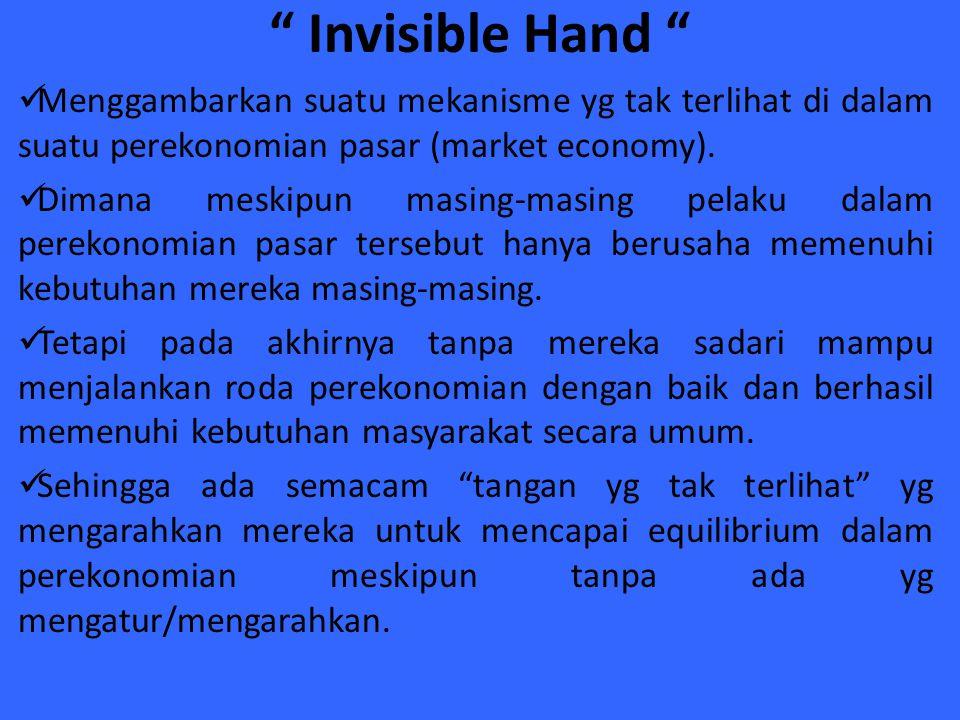 Invisible Hand Menggambarkan suatu mekanisme yg tak terlihat di dalam suatu perekonomian pasar (market economy).