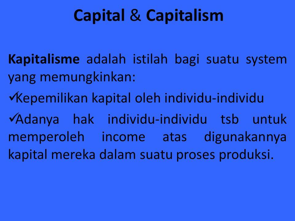 Capital & Capitalism Kapitalisme adalah istilah bagi suatu system yang memungkinkan: Kepemilikan kapital oleh individu-individu.