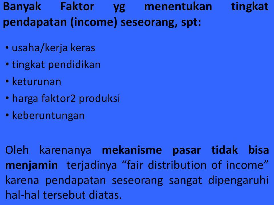 Banyak Faktor yg menentukan tingkat pendapatan (income) seseorang, spt: