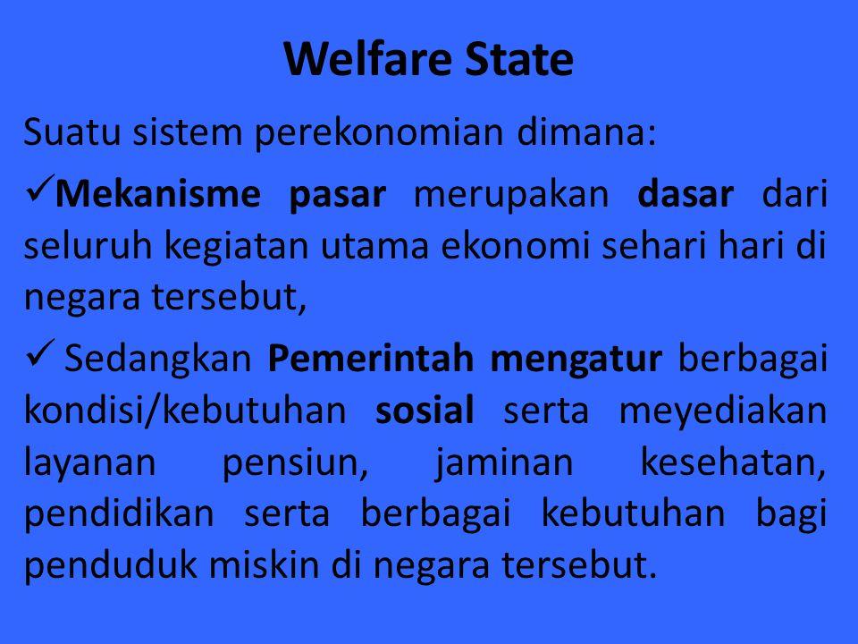 Welfare State Suatu sistem perekonomian dimana: