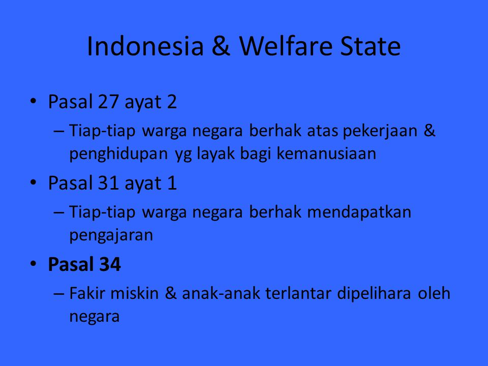 Indonesia & Welfare State