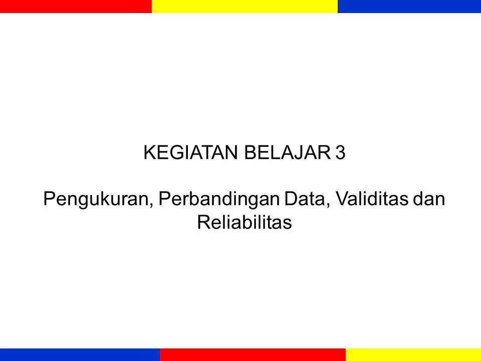 KEGIATAN BELAJAR 3 Pengukuran, Perbandingan Data, Validitas dan Reliabilitas