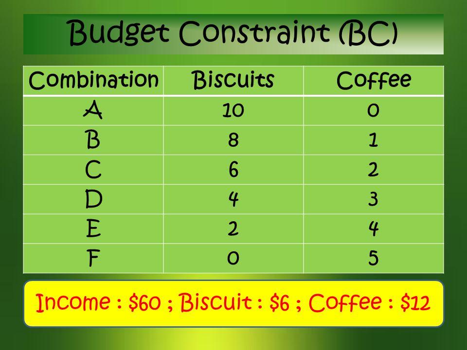 Budget Constraint (BC)