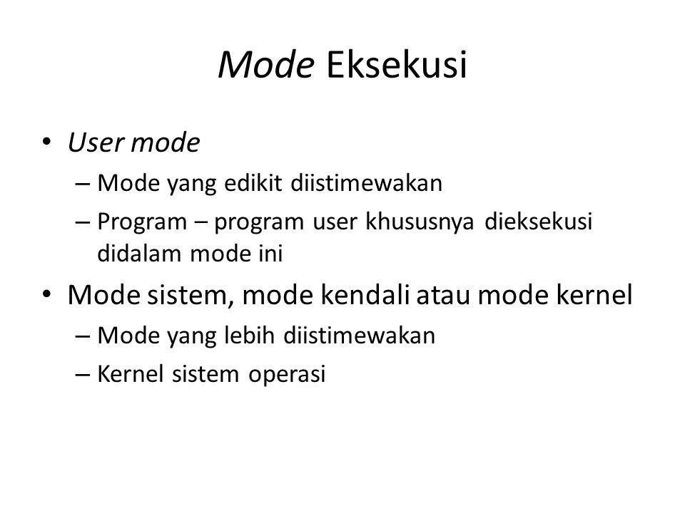 Mode Eksekusi User mode Mode sistem, mode kendali atau mode kernel