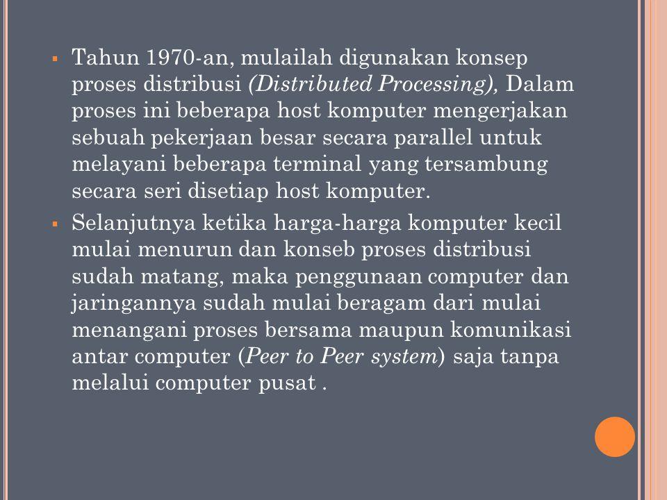 Tahun 1970-an, mulailah digunakan konsep proses distribusi (Distributed Processing), Dalam proses ini beberapa host komputer mengerjakan sebuah pekerjaan besar secara parallel untuk melayani beberapa terminal yang tersambung secara seri disetiap host komputer.