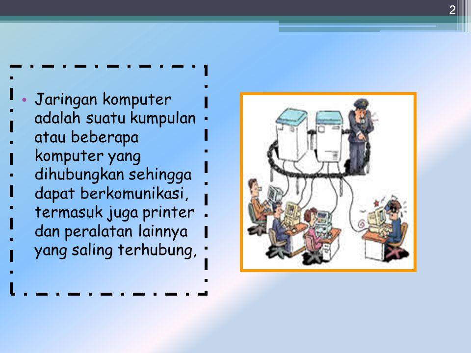 Jaringan komputer adalah suatu kumpulan atau beberapa komputer yang dihubungkan sehingga dapat berkomunikasi, termasuk juga printer dan peralatan lainnya yang saling terhubung,
