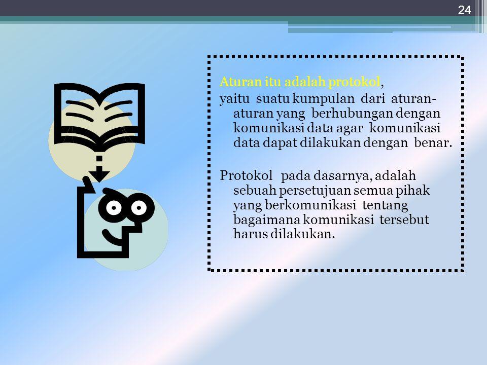 Aturan itu adalah protokol, yaitu suatu kumpulan dari aturan- aturan yang berhubungan dengan komunikasi data agar komunikasi data dapat dilakukan dengan benar.