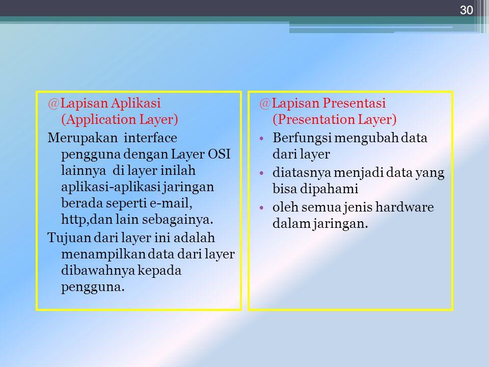 @Lapisan Aplikasi (Application Layer) Merupakan interface pengguna dengan Layer OSI lainnya di layer inilah aplikasi-aplikasi jaringan berada seperti e-mail, http,dan lain sebagainya. Tujuan dari layer ini adalah menampilkan data dari layer dibawahnya kepada pengguna.