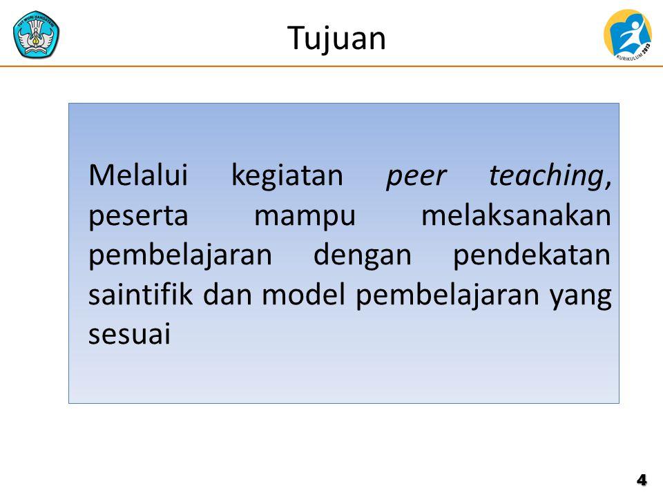 Tujuan Melalui kegiatan peer teaching, peserta mampu melaksanakan pembelajaran dengan pendekatan saintifik dan model pembelajaran yang sesuai.