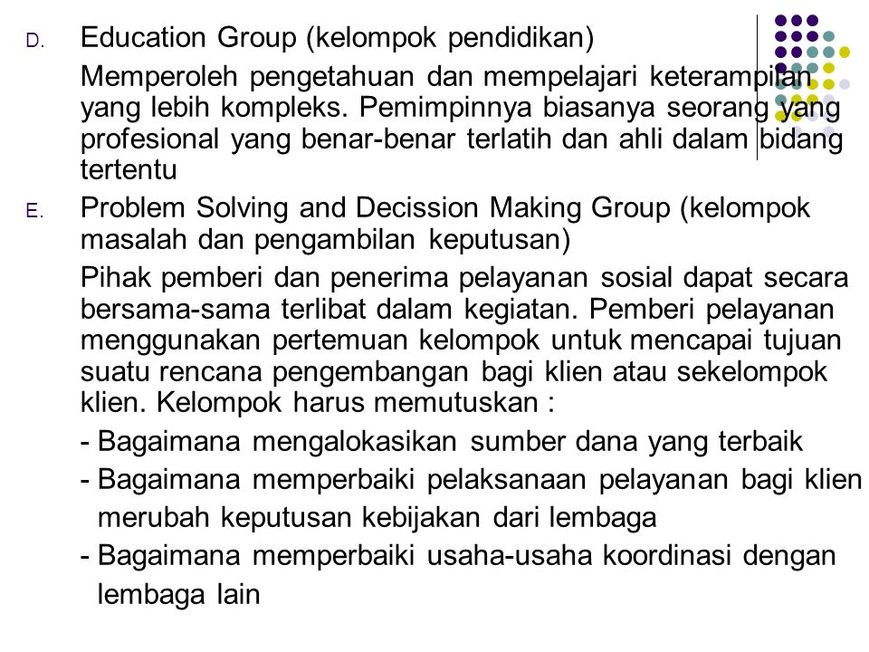 Education Group (kelompok pendidikan)