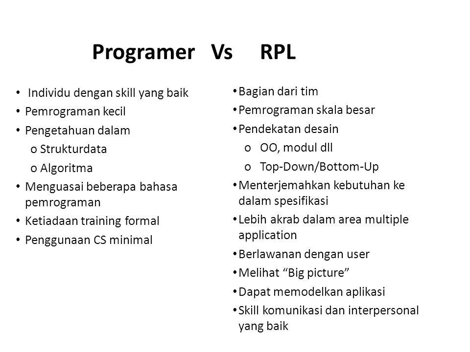 Programer Vs RPL Bagian dari tim Individu dengan skill yang baik
