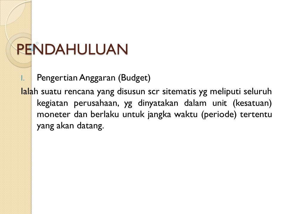 PENDAHULUAN Pengertian Anggaran (Budget)