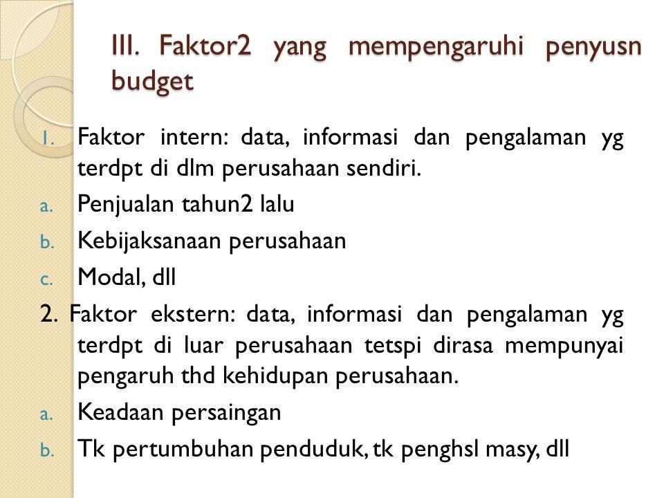 III. Faktor2 yang mempengaruhi penyusn budget
