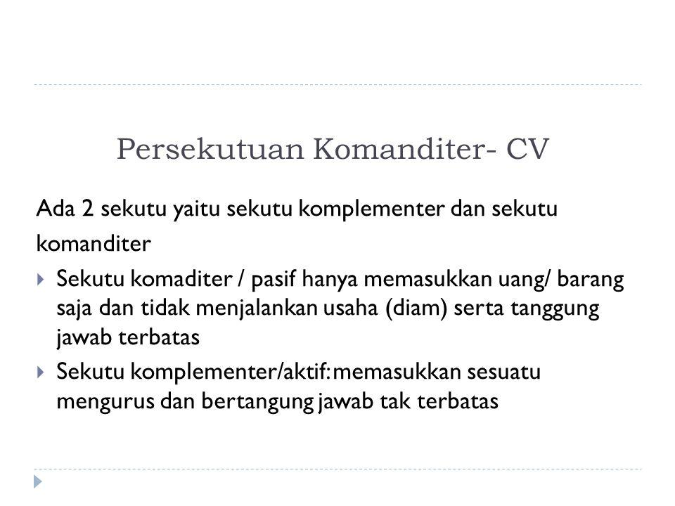 Persekutuan Komanditer- CV