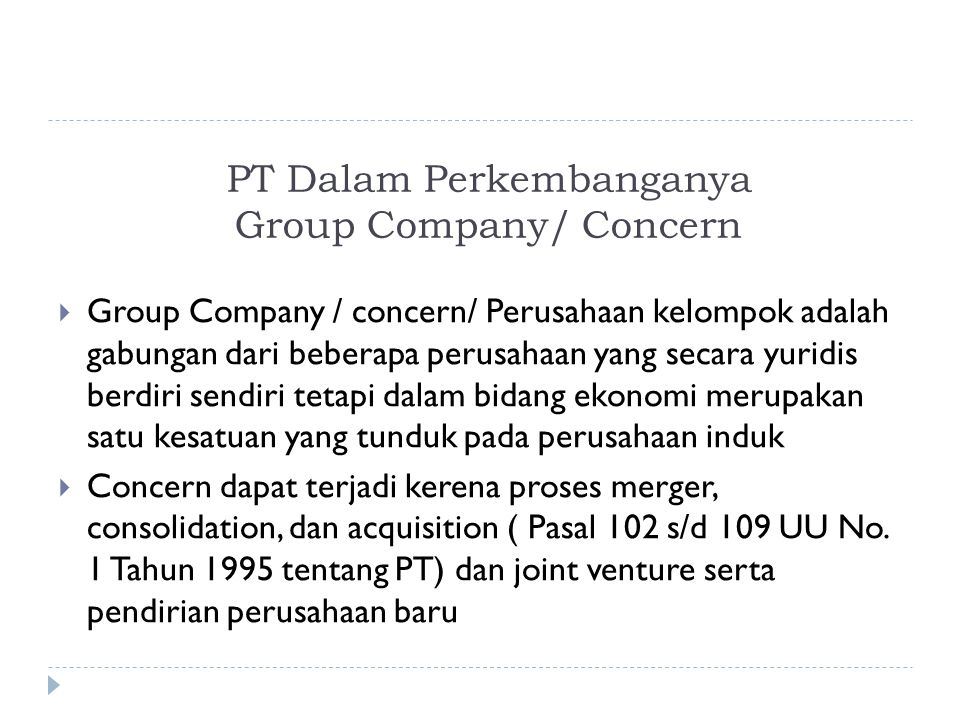 PT Dalam Perkembanganya Group Company/ Concern