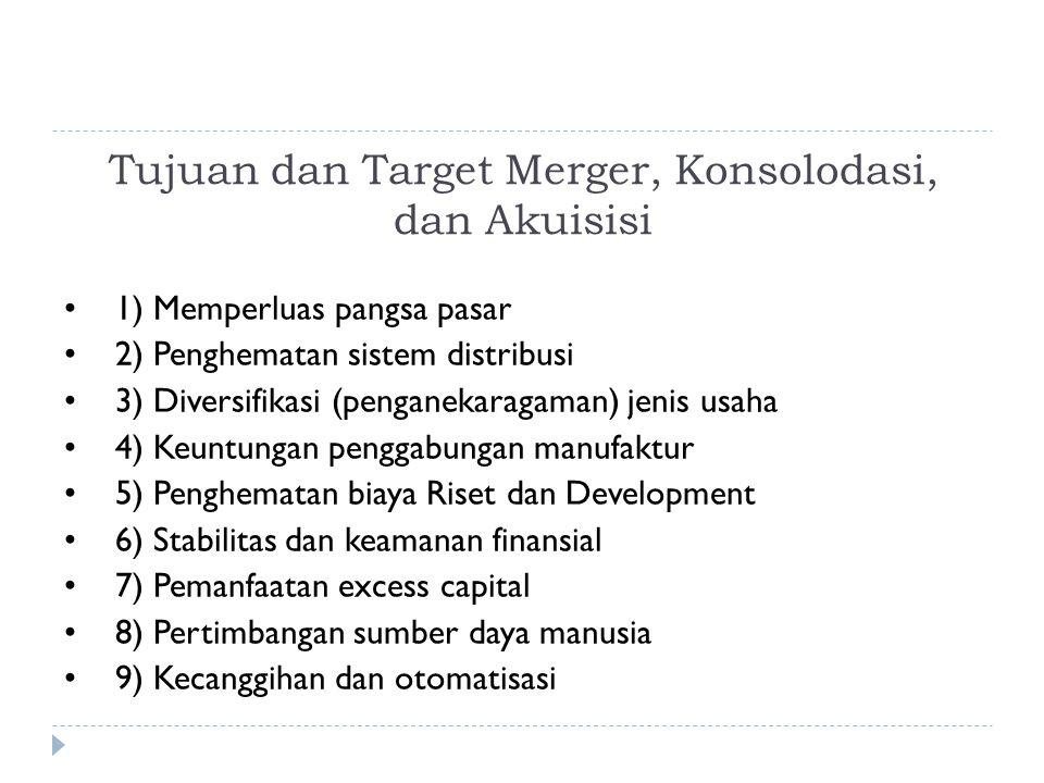 Tujuan dan Target Merger, Konsolodasi, dan Akuisisi