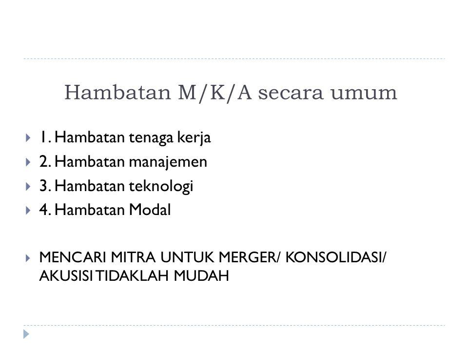 Hambatan M/K/A secara umum