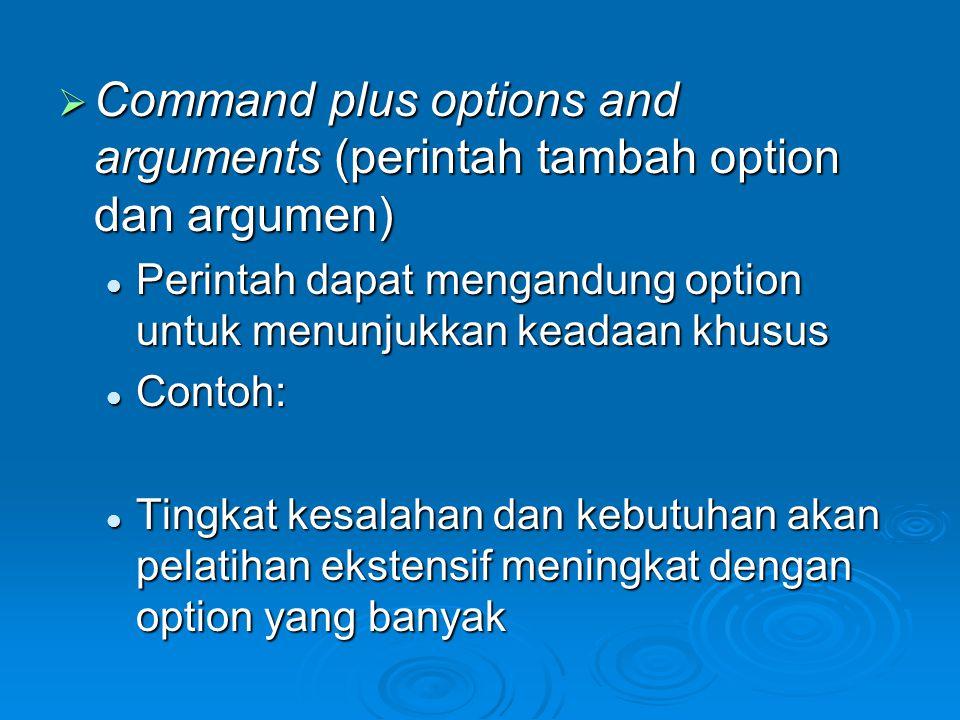 Command plus options and arguments (perintah tambah option dan argumen)
