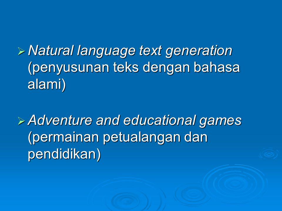 Natural language text generation (penyusunan teks dengan bahasa alami)