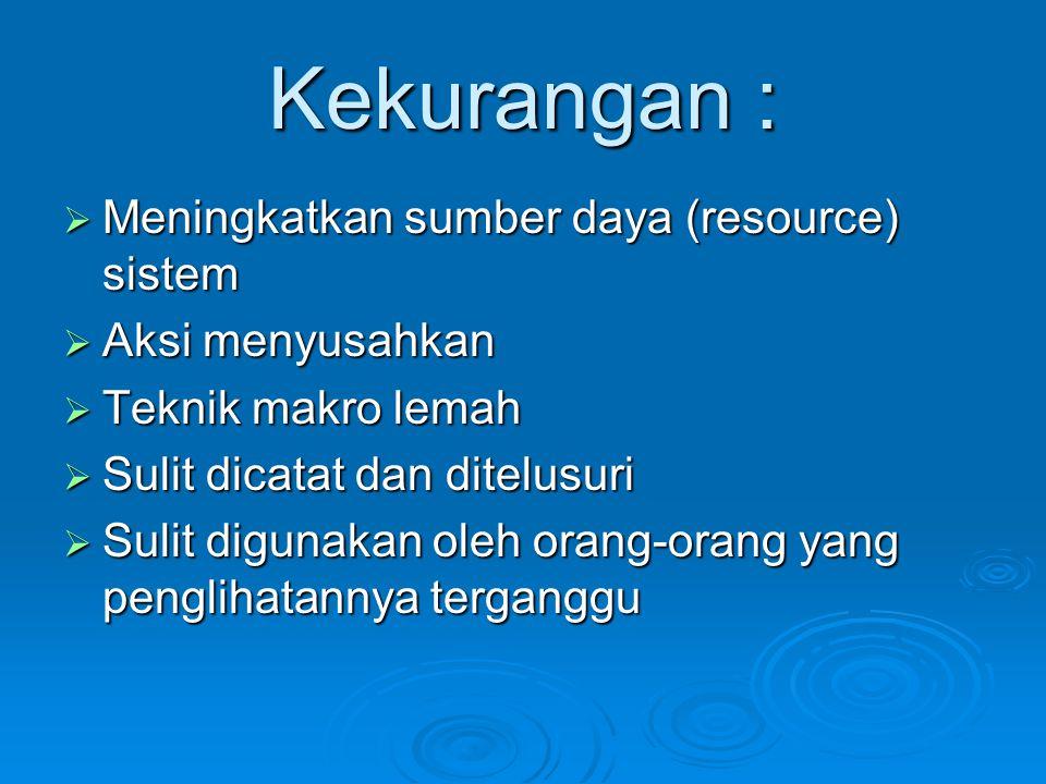 Kekurangan : Meningkatkan sumber daya (resource) sistem