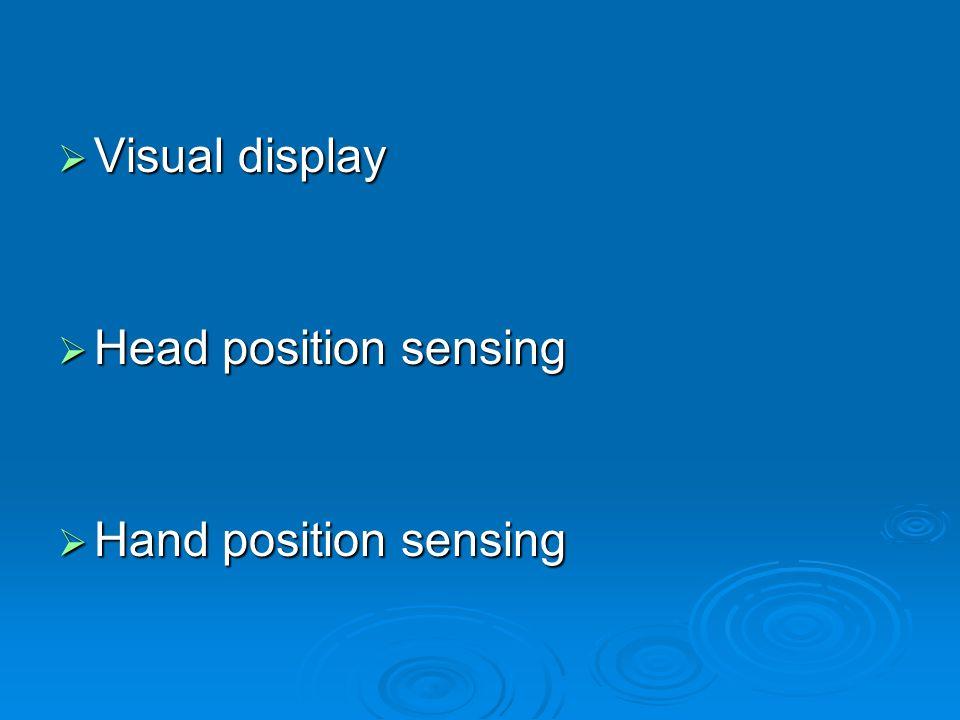 Visual display Head position sensing Hand position sensing