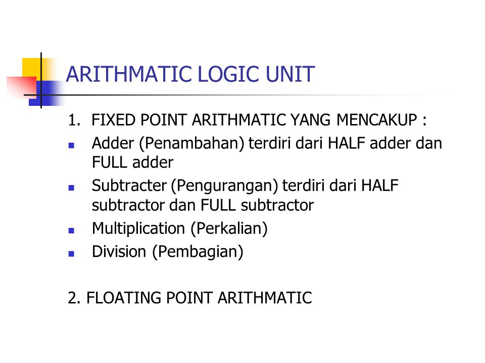 ARITHMATIC LOGIC UNIT 1. FIXED POINT ARITHMATIC YANG MENCAKUP :