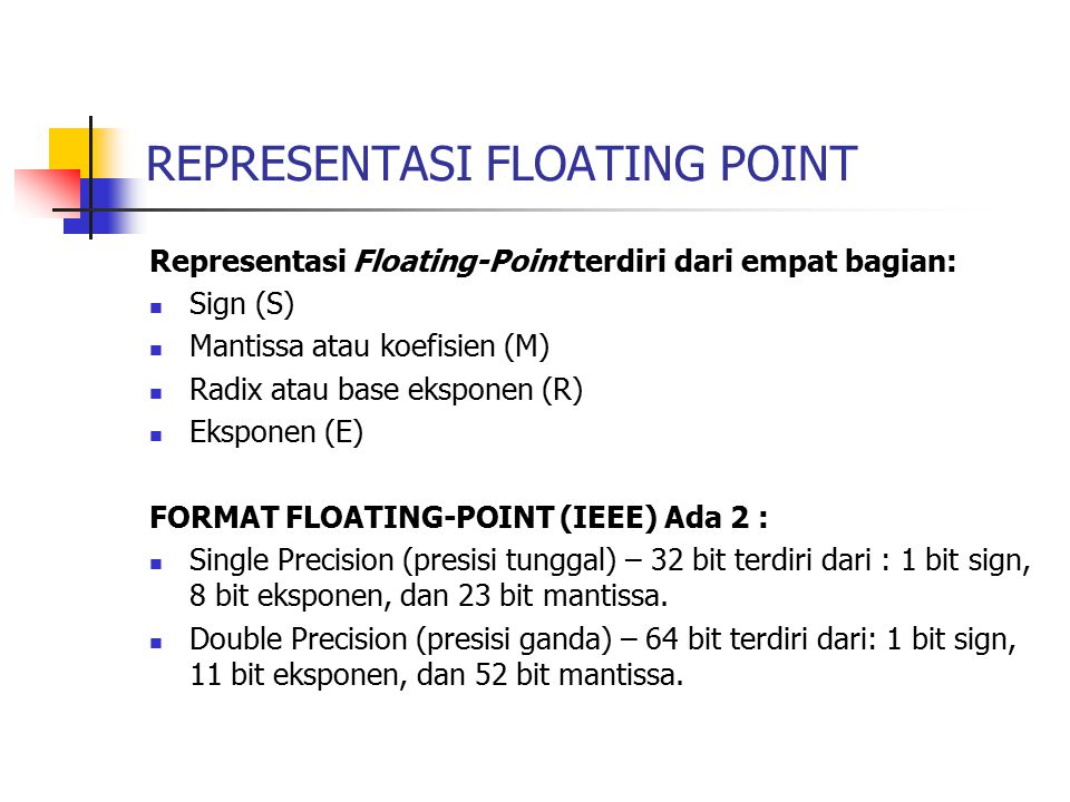 REPRESENTASI FLOATING POINT