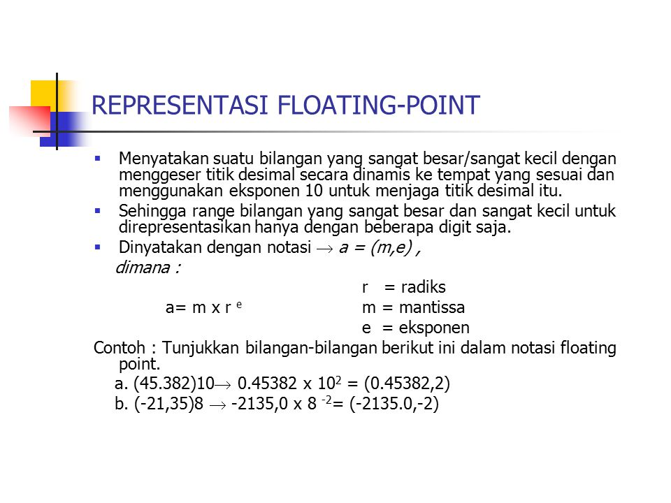 REPRESENTASI FLOATING-POINT