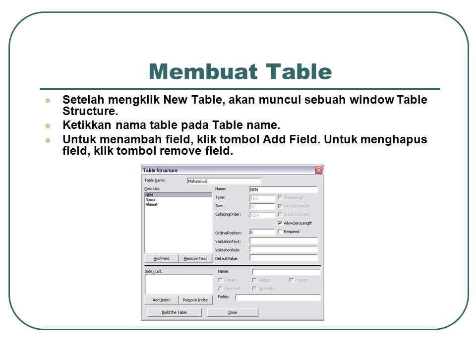 Membuat Table Setelah mengklik New Table, akan muncul sebuah window Table Structure. Ketikkan nama table pada Table name.