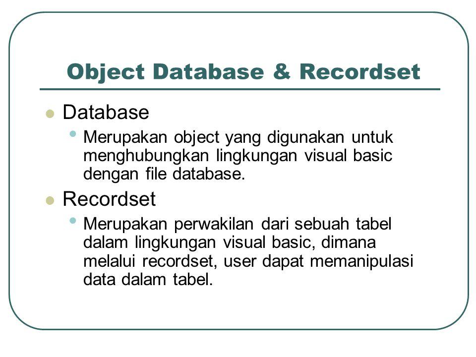 Object Database & Recordset